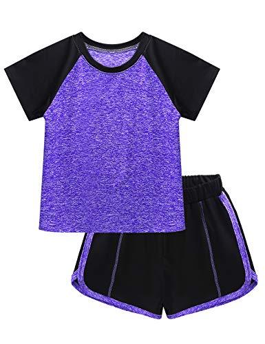renvena Kinder Trainingsanzug Sommer Mädchen Jungen Sportanzug Kontrast Neon Schwarz Zweifarbig Kurz Jogginganzug Sportanzug 5-12 Jahre A Violett 122-128