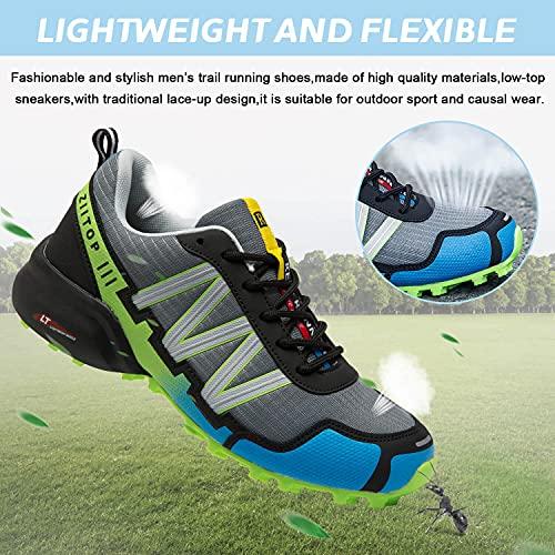 Zapatillas Trail Running Hombre Impermeables Zapatillas Trekking Hombre Zapatos de Senderismo Ligeras Deportivas Zapatos para Correr Gimnasio Sneaker Gris Verde 42 EU
