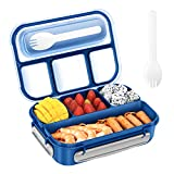 Bento Boxes for Adults,1300ML Bento Lunch Box for Kids,Versatile 4 Compartment Food Storage Box,Microwave & Dishwasher & Freezer Safe, BPA Free (Blue)