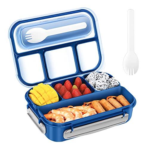 Fiambreras Bento,Caja de Bento Para Adultos y Niños,Fiambrera de Plástico Y caja de Almacenamiento de Alimentos,Bento de 4 Formatos-1300ML (azul)