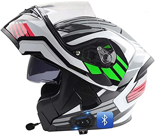 Casco De Motocicleta Modular Integrado Con Bluetooth, Casco Modular Anticolisión, Certificado DOT/ECE, Con Visor Doble, Lente De PC De Alta Definición, Transpirable Y Cómodo, Para Adultos C,XXL