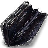 【 NAOKING 】 本革 カーボン レザー 長財布 蛇腹 カード最大22枚 収納(ブラック)