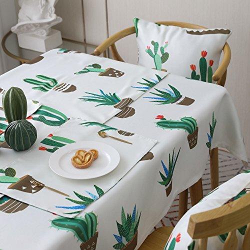 AOyEKXD Tischdecke Kaktus Gedruckt Polyester Tischdecke Grüne Pflanzliche Tischdecke Couchtisch Abdeckung Handtuch 55X79In-140X200 cm