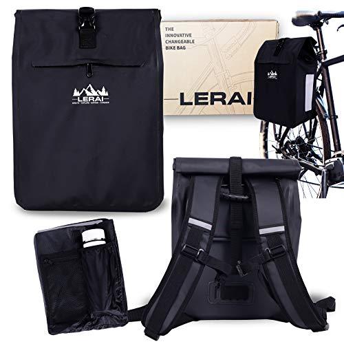LERAI® 3in1 Fahrradtasche hinten 100% wasserdicht & reflektierend, Gepäckträger-Tasche, Rucksack & Umhängetasche Kombi + Laptopfach & Tragegriff, Packtasche, Gepäcktasche - schnelle Montage (schwarz)