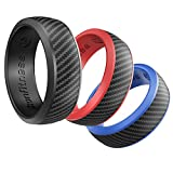 Silicone Wedding Ring for Men - 3 Pack Comfortable Fit, Skin Safe, Non-Toxic