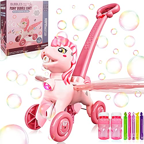 Bubble Machine Blower Blaster Lawn Mower Maker Pink Toy Fun Portable Handheld Operate Automatic Electric Outdoor Summer Birthday Best Gift Light Music Toddler Boy Girl Kid 1-8 Year Old Horse Unicorn