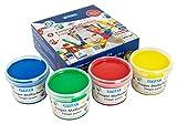 Stylex 28950 - Fingerfarben, Fingermalfarben für Kinder, 4 x 100 ml in grün, gelb, blau und rot, rückstandslos auswaschbar, ideal auch für Kita, Kindergarten und Grundschule