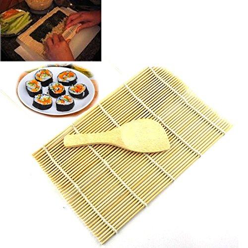 Alvinm Sushi Set, Bambus Sushi Matte, Sushi Maker für Anfänger,Sushi Selbst Machen Set Sushi Roll-Kit für Anfänger 1 Reisstreuer 1 Reislöffel 1 Bambus Sushi Matte