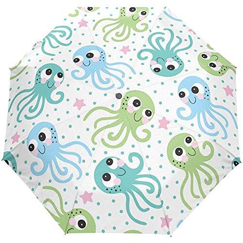 Octopus Ocean Sea Star Polka dots auto open paraplu zonnescherm paraplu zonnescherm paraplu anti-UV vouwbaar