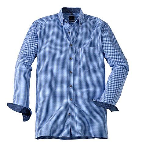 Olymp Hemd Luxor, Trachtenhemd, modern fit, blau/weiss kariert (39)