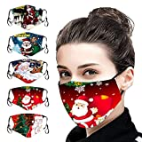 DealinM 5PC Cartoon 𝑴𝒂𝒔𝒌 Christmas Santa Prints Face Protection Bandanas Outdoor Indoor Mouth Covers Reusable Washable Face 𝑴𝒂𝒔𝒌 for Adults
