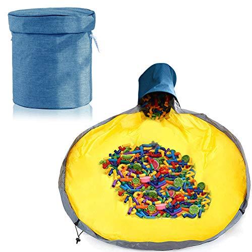 Aufräumsack Kinder, Aufbewahrungsbeutel für Kinderzimmer, Spieldecke Aufräumsack, Aufbewahrung Beutel Spielzeug, Aufbewahrungsbox mit Deckel, Spielzeug Aufbewahrung Tasche (Navy blau)