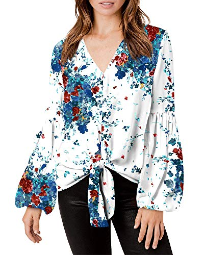 SySea Womens Floral V Neck Tie Front Tunic Batwing Long Sleeve Chiffon Casual Blouse Tops Blue