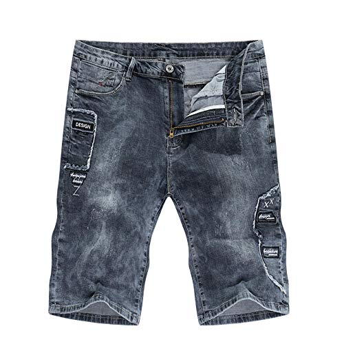 Vaqueros para Jeans Pantalones Pantalones Vaqueros Cortos De Mezclilla Verano para Hombre Pantalones Vaqueros con Estilo Pantalones Vaqueros Elásticos Grises De Diseñador De Moda P