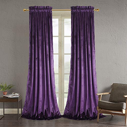 Roslynwood Purple Velvet Curtains for Living Room - Velvet Curtain Panels Privacy Rod Pocket Window Drapes for Bedroom,W52 by L96 inches, 2 Panels