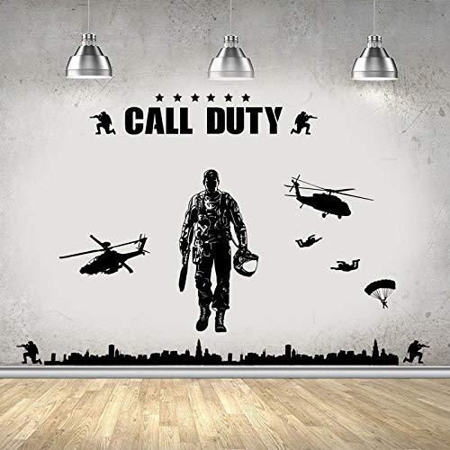 HNXDP Army Military Soldier Wandaufkleber für Kinderzimmer Kinderzimmer Kinder Jungen Schlafzimmer Vinyl Wallpaper Art Decor Poster Decals 56x163cm