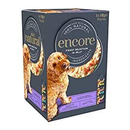 Encore Natural Wet Dog Food Pouches Chicken Selection in Jelly, 5×100 grams