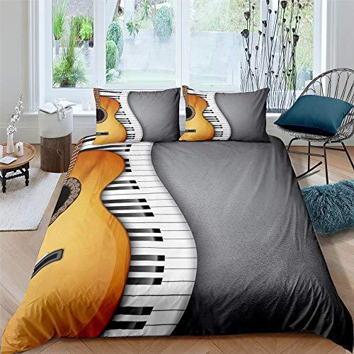 ArneCase Fundas Nórdicas Cama - Gris Guitarra Piano 260X220 Cm Fundas Edredón Nórdico con 2 Fundas De Almohada 50X75Cm - Microfibra Muy Suave Transpirable Antiarrugas Antialérgico