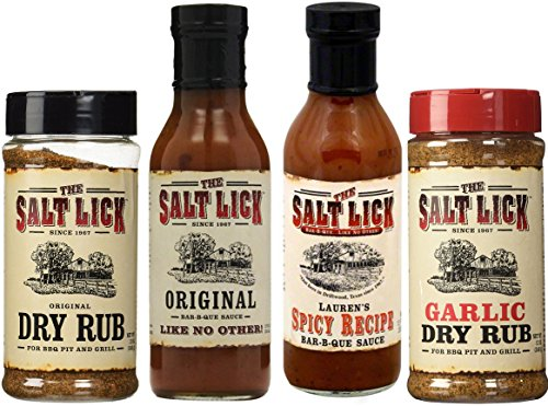 Salt Lick Favorites Assortment, one each of Original Dry Rub, Original Sauce, Spicy Sauce and Garlic Dry Rub
