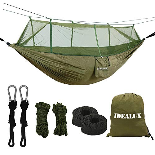 IDEALUX Camping Hammock with Net - Lightweight Portable Double Parachute Hammocks - Made of 210T Nylon High Capacity and Tear Resistance - Perfect for Hammock Camping, Backyard Relaxation (ArmyGreen)