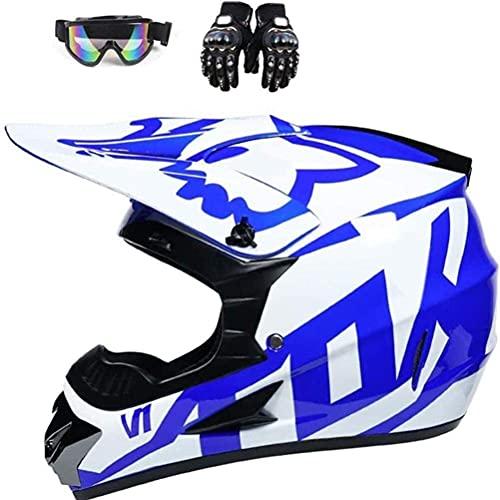 Conemmo Casco Chunqiu Motocross, Gloves de Motocicletas Azules Guantes Cubierta CARACTERA DE Directa Bicicleta MOTORCICLE Casco Case Caso Completo Case para Hombres para Adultos