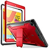 iPad 10.2 2019 Case, Poetic Full-Body Heavy Duty Shockproof Protective Cover with Kickstand, Built-in Screen Protector, Revolution, for Apple iPad 10.2 inch (7th Gen, 2019 Release), Metallic Red