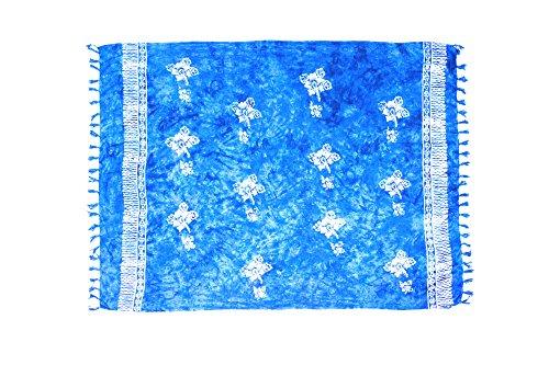 MANUMAR Mujer Pareo opaco, toalla de playa grandes Sarong en azul turquesa con motivo hibisco, Tamaño XL 175x115cm, toalla vestido de verano, bikini vestido de playa