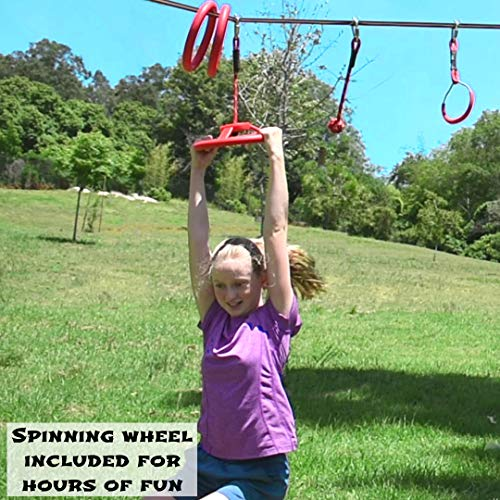 Ninja Warrior Obstacle Course for K   ids - 65' Longest Ninja Slackline Obstacle Course | Bonus Freestyle Rings and Spinning Wheel Obstacles | Adjustable Position | Outdoor Play Equipment for Kids
