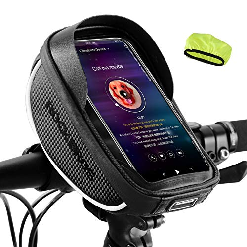ROCKBROS Borsa da Manubrio Bici Impermeabile Borsa Telaio per Bicicletta MTB Borsa Manubrio Impermeabile Portacellulare per Schermo sotto 6.5' Inches TPU Touchscreen Sensibile 1L