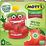 Mott's No Sugar Added Strawberry Applesauce, 3.2 Ounce (Pack of 6), Clear Pouch, 24 Count, Perfect...