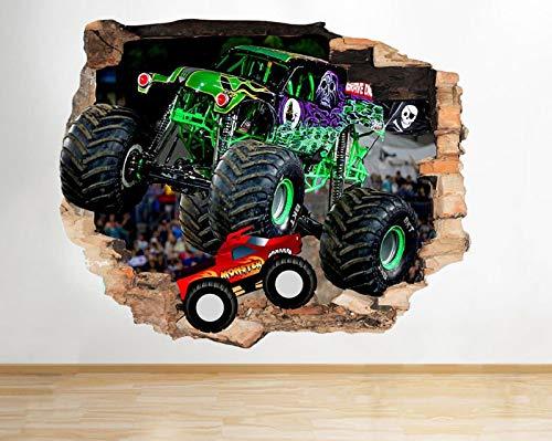 M494 Monster Trucks Autos Cool Boys zertrümmert Wandtattoo 3D Kunst Aufkleber Vinyl RoomMedium