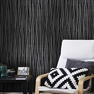 76 sq.ft rolls Portofino wallcoverings modern embossed flocked Vinyl Non-Woven Wallpaper charcoal black silver metallic flocking flock lines soft velvet waves textured coverings 3D paste the wall only