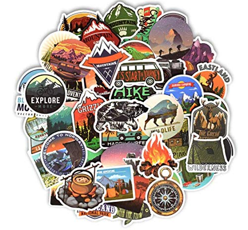 DZCYAN 50 PCS Camping Landscape Stickers Outdoor Adventure Climbing Travel Waterproof Sticker to DIY Suitcase Laptop Bicycle Helmet Car