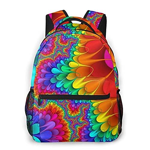 DJNGN Mochila informal con estampado de tinte colorido, mochila clásica para viajar con bolsillos laterales para botellas