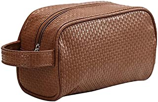 SODIAL Brown Waterproof Toiletry PU Bags Leather Travel Cosmetic Bag Organizer Women Makeup Bag Neceser Make Up Case Beauty Storage Bags
