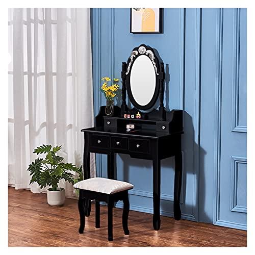 YSJJYQZ Tocador Tocador de Maquillaje Retro de Madera Pinewood con Taburete, 5 Almacenamiento, cajones tallados, Espejos Ajustables, Estilo Retro, Blanco/Negro (Color : Black)