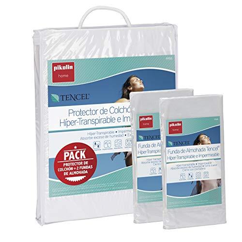 Pikolin Home - Set híper-transpirable e impermeable con protector de colchón (150x190/200cm) y dos fundas de almohada (40x75cm) (Todas las medidas)