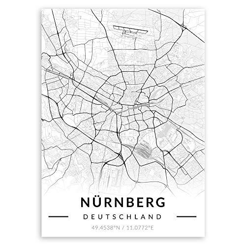Murrano Metal Poster Metallbild Metallposter - Städte - Poster Stadt - mithilfe eines Magnets montiert - schwarz-weiß - Nürnberg - 67 x 48 cm