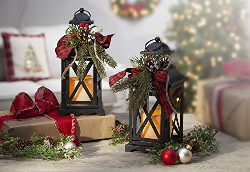 Gerson Set of 2 Battery Operated Lighted Christmas Metal Holiday Lanterns with Floral Accents and Timer