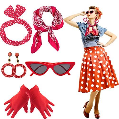 Yansion 50er Jahre Kostüm Accessoires Damen 1950s Zubehör Set Inklusive Polka Dots Bandana Haarband Ohrringe Handschuhe Katzenaugen Sonnenbrille Schal(rot)