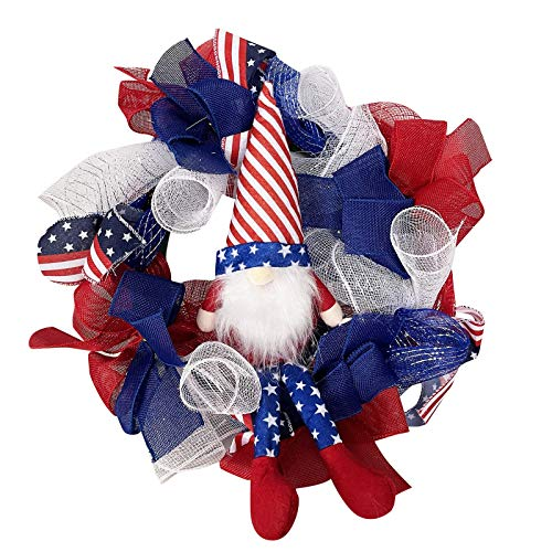 IJKLMNOP Spring Summer Wreaths for Front Door, Handmade Independence Memorial Patriotic and 4th of July Veterans Day American Floral Vines Garland Ornaments for Home Room Yard Farmhouse Decor