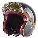 MRDAER Cascos de Moto de Cara Abierta 3/4 Medio Casco de Motocicleta con Gafas Casco Jet Aprobado por ECE, para Motocicletas/helicópteros/Barcos de navegación oceánica E, XL (61-62 cm)
