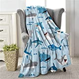 Colla Cute Shark Throws Blankets for Boys Girls Adults, Lightweight Soft & Fuzzy Flannel Plush Kids Decorative Throw Blankets for Couch Bed Sofa Travel 50'X40'
