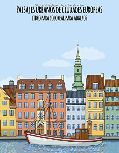 Paisajes urbanos de ciudades europeas libro para colorear para adultos