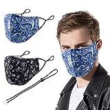 VWMYQ Bandana Paisley Face Mask Men Reusable Designer Winter Fashion Ski Adult Blue Black Cloth Washable Breathable Exercise Gym Running Cotton Fabric Printed Women Cubre BocasTapa para Mascarillas