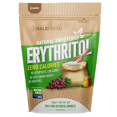 Erythritol Sweetener Natural Sugar Substitute 3lb - Granulated Low Calorie Sweetener High Digestive Tolerance Suitable for Diabetes Keto and Paleo - Baking Substitute Non GMO