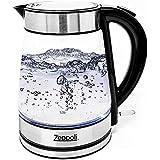 Zeppoli 電熱水壺(不含BPA-雙酚A)-快速沸騰玻璃茶水壺(1.7公升)無線、不鏽鋼製熱水壺-玻璃茶壺、茶壺-熱水飲水機