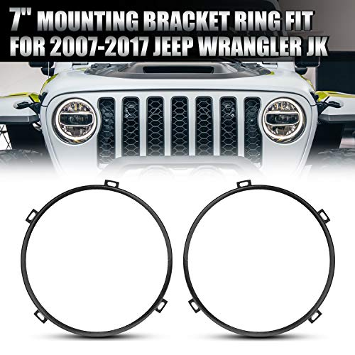 7inch Round Headlight Mounting Bracket for Jeep JK, AAIWA Headlight Bezel Black Ring for 2007-2017 Jeep JK & Wrangler Unlimited