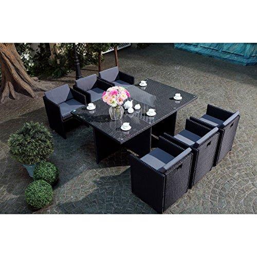 JFB Le Vito : Salon Jardin Noir encastrable en résine 6 Personnes