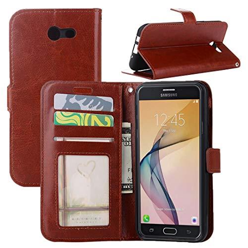 ZAORUN Cubiertas Protectoras de Cellphone Compatible for Samsung Galaxy J5 (2017) (Versión EE. UU.) Crazy Horse Texture Funda de cuero con tapa horizontal con soporte y ranuras Compatible for tarjetas